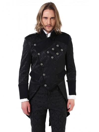 Pentagramme Black Retro Gothic Brocade Tailcoat Jacket For Men