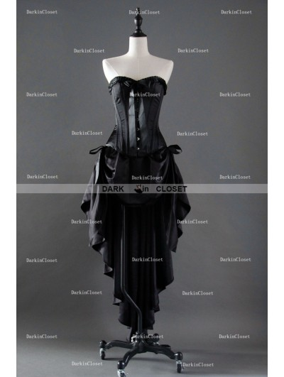 Fashion Black High-Low Gothic Corset Burlesque Prom Party Dress