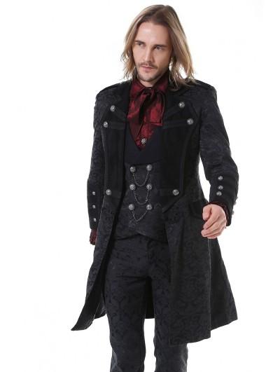Pentagramme Black Vintage Gothic Jacquard Mid-Length Party Jacket for Women