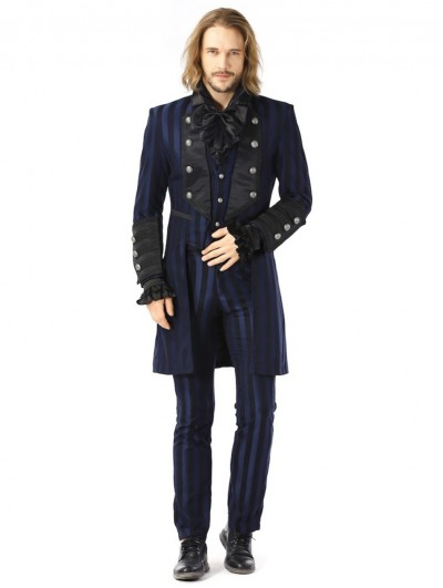 Pentagramme Blue Retro Gothic Striped Party Tailcoat Jacket For Men