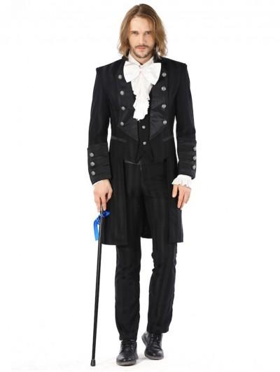 Pentagramme Black Retro Gothic Striped Party Tailcoat Jacket For Men