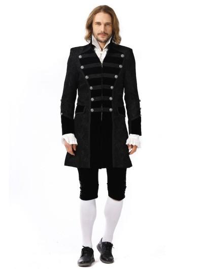 Pentagramme Black Retro Gothic Jacquard Party Jacket For Men