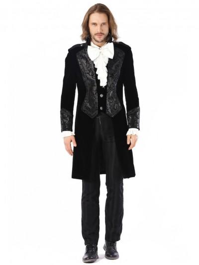 Pentagramme Retro Gothic Black Velvet Party Swallow Tail Coat For Men