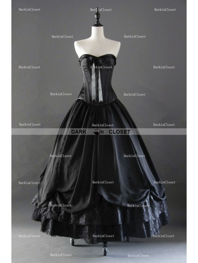 Black Gothic Corset Long Prom Party Dress