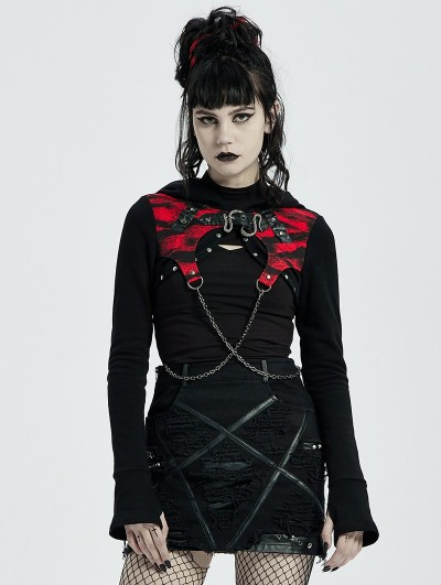 Punk Rave Black and Red Gothic Punk Chain Hooded Short Coat for Women
