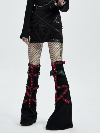 Punk Rave Black Gothic Decadent Pentagram Pattern Women's Mini Denim Skirt
