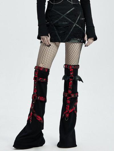 Punk Rave Red and Black Gothic Punk Bat Girl's Flared Leg Sleeve
