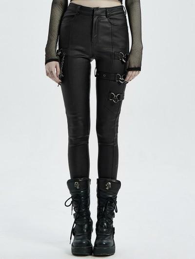 Punk Rave Black Gothic Punk PU Leather Long Pants for Women