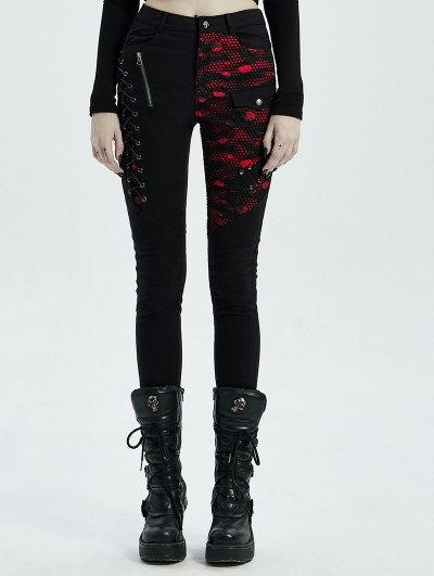 Punk Rave Black and Red Gothic Punk Denim Long Trousers for Women