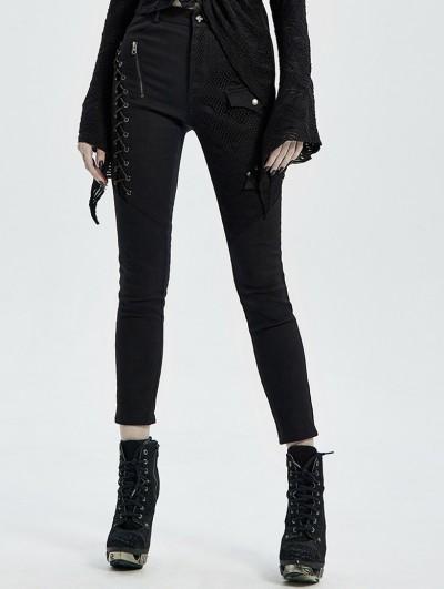 Punk Rave Black Gothic Punk Denim Long Trousers for Women