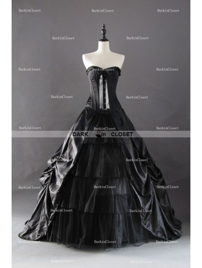 Black Gothic Corset Long Prom Ball Gowns
