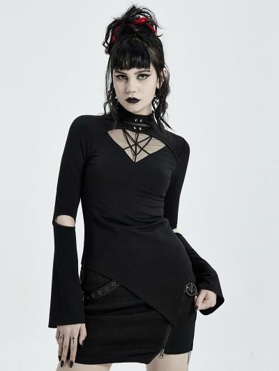 Punk Rave Black Gothic Punk Long Sleeve Asymmetric T-Shirt for Women
