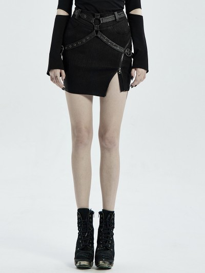 Punk Rave Black Gothic Punk PU Leather Irregular Mini Sexy Skirt for Women