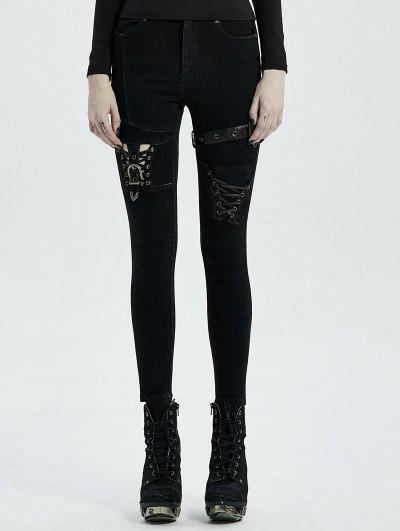 Punk Rave Black Gothic Punk Buckle Belt Denim Trousers for Women
