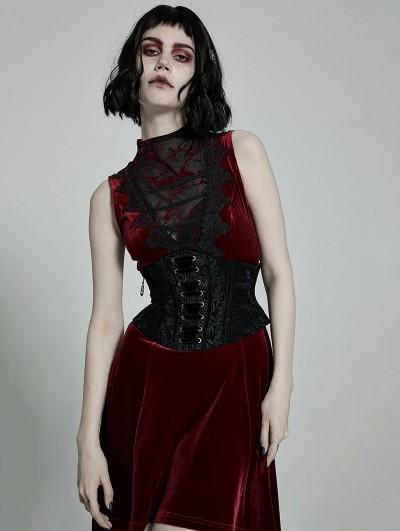 Punk Rave Black Gothic Rose Lace Velvet Corset Waistband for Women