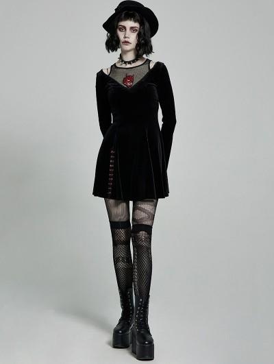 Punk Rave Black Gothic Devil Long Sleeve Velvet Short Dress