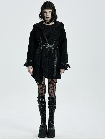 Punk Rave Black Gothic Daily Wear Fleece Hooded Warm Winter Coat for Women