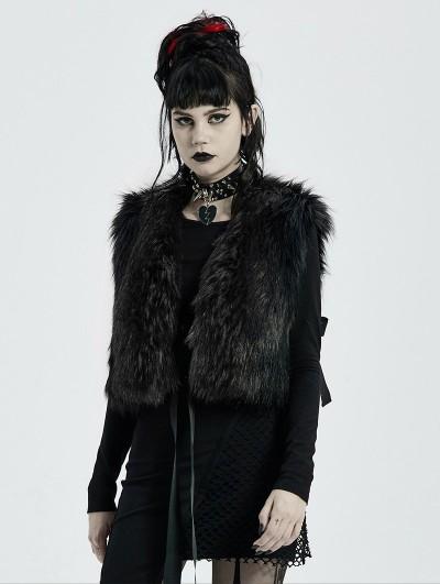 Punk Rave Black Gothic Fashion Winter Warm Faux Fur Waistcoat for Women