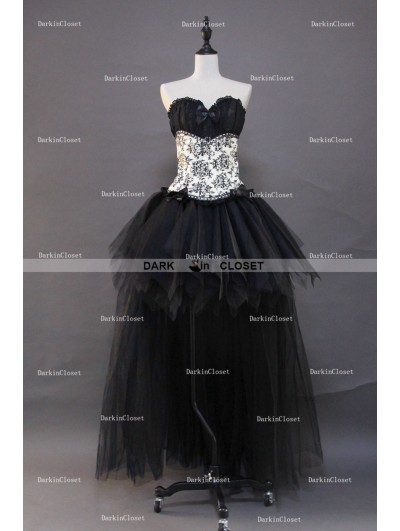 Gothic Corset High-Low Burlesque Prom Party Dress