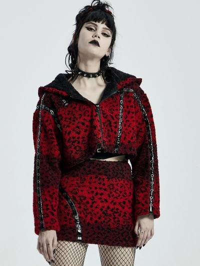 Punk Rave Red and Black Gothic Punk Leopard Women's Hooded Loose Short Coat