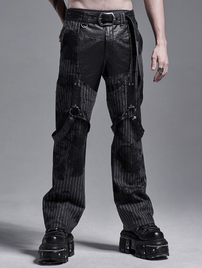 Punk Rave Gothic Punk Striped Loose Straight Pants for Men