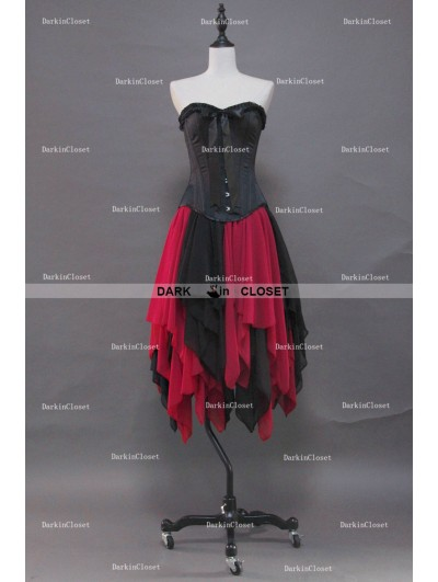 Black and Red Gothic Corset Irregular Burlesque Prom Party Dress