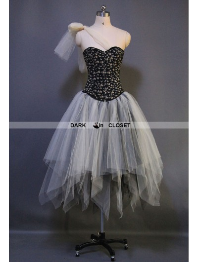 Ivory and Black Gothic Punk Ankle Length Corset Prom Party Dress ...