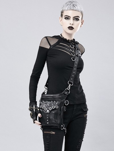 Black Gothic Motorcycle PU Leather Cycling Waist Shoulder Messenger Bag