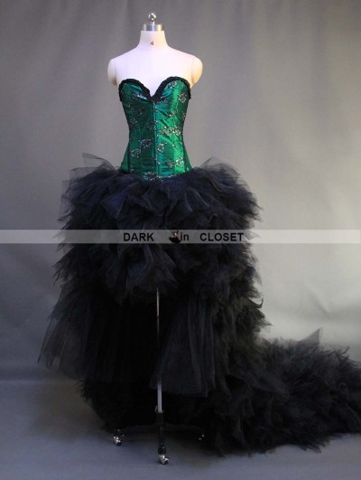 Green and Black Gothic Burlesque Corset High-Low Prom Party Dress