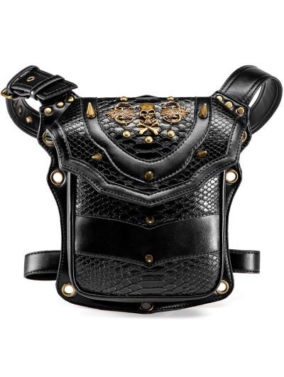 Black Gothic Punk Skull Motorcycle Waist Shoulder Messenger Bag