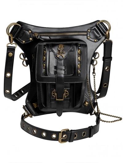 Black Gothic Chain Skull Waist Shoulder Messenger Bag