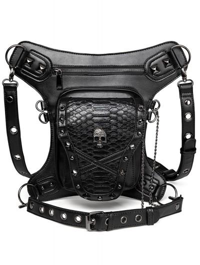 Black Gothic Punk Skull Motorcycle Waist Leg Shoulder Messenger Bag