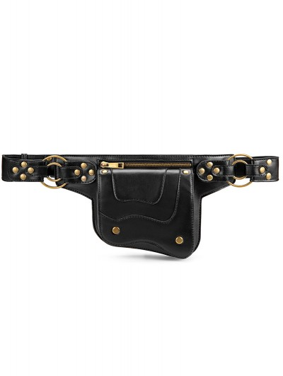Black Gothic Steampunk Travel Waist Shoulder Messenger Bag
