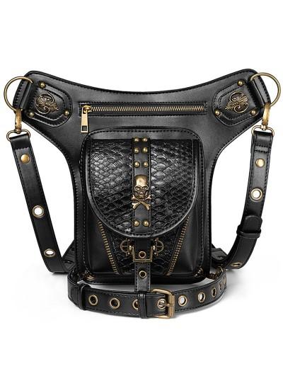 Black Gothic Punk PU Leather Outdoor Cycling Waist Shoulder Messenger Bag