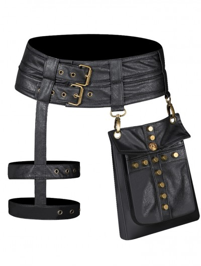 Black Gothic Punk Motorcycle PU Leather Buckle Belt Leg Garter Waist Bag