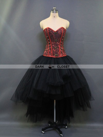 Red and Black Gothic Steampunk Burlesque Corset High-Low Prom Party Dress