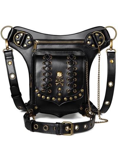 Black Gothic Punk Chain Motorcycle Travel Waist Shoulder Messenger Bag