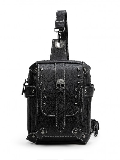 Black Gothic Skull Motorcycle Travel Shoulder Messenger Bag