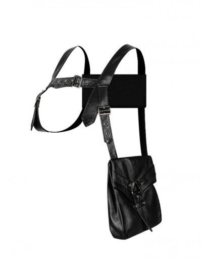 Black Gothic Punk Motorcycle Outdoor Unisex Harness Belt Bag