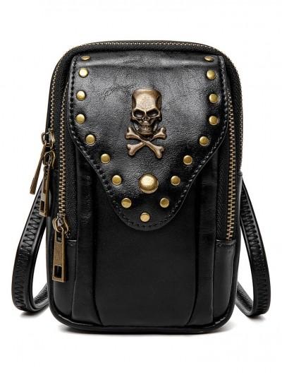 Black Gothic Punk Rectangle Outdoor Travel Shoulder Backpack Bag