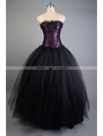 Purple and Black Long Gothic Corset Prom Gown