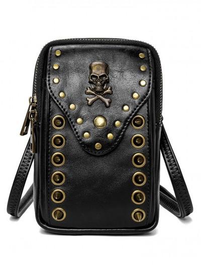 Black Gothic Punk Skull Rivets Outdoor Travel Shoulder Backpack Bag