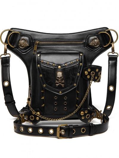 Black Gothic Punk Skull Rivets Motorcycle Waist Shoulder Messenger Bag
