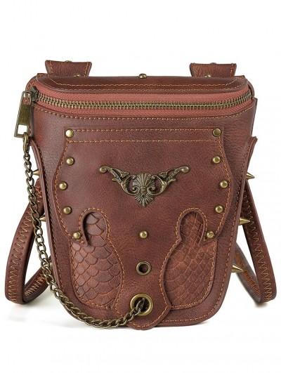 Brown Vintage Snake Pattern Rivets Chain Travel Shoulder Backpack Bag