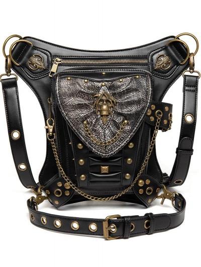 Black Gothic Punk Rivets Chain Motorcycle Travel Waist Shoulder Messenger Bag