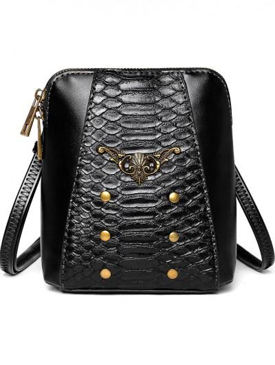 Black Gothic Punk PU Leather Travel Shoulder Backpack Bag