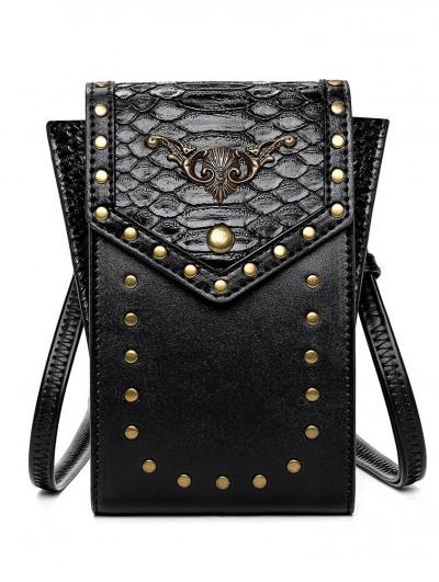 Black Gothic Punk PU Leather Skull Snake Pattern Travel Shoulder Backpack Bag