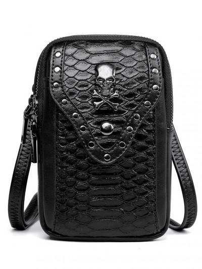Black Gothic Punk Skull Snake Patterned Outdoor Travel Shoulder Backpack Bag