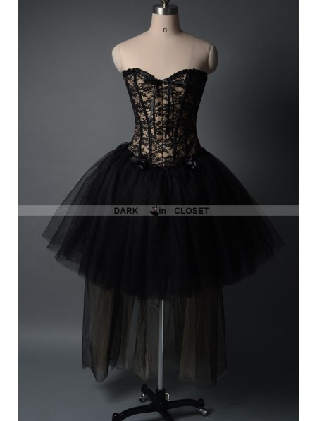 Fashion Black Gothic Burlesque Corset High Low Prom Party