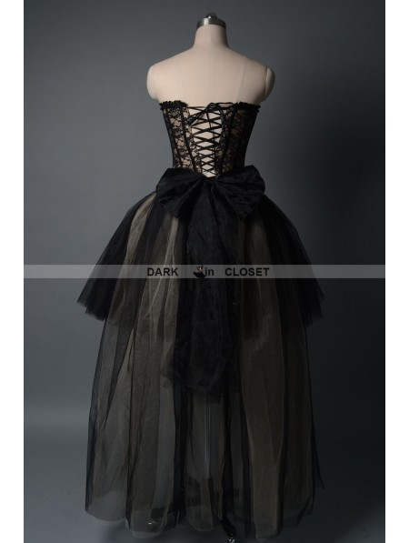 Fashion Black Gothic Burlesque Corset High Low Prom Party Dress